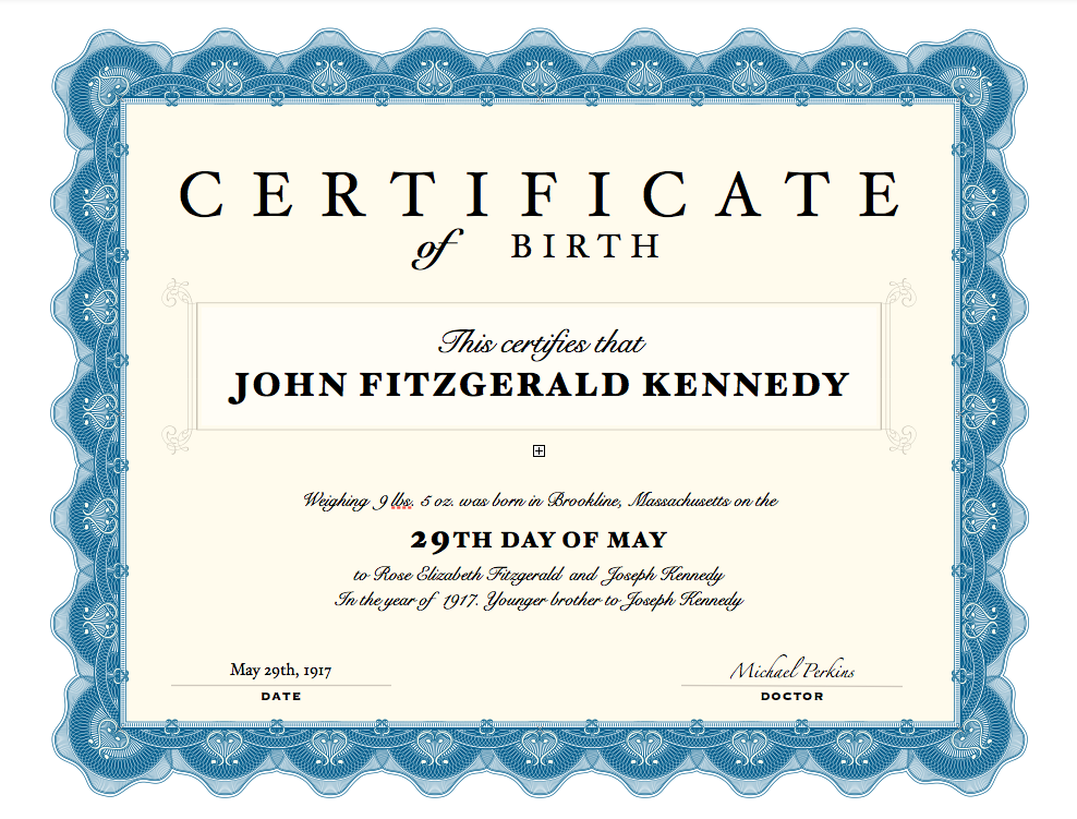Birth Certificate Jfk His American Dream